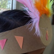 Recycled Cardboard Turkey Hat - child wearing the hat