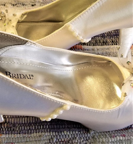 More State Fair Projects - length of flat faux pearls glued to the sides of the shoes