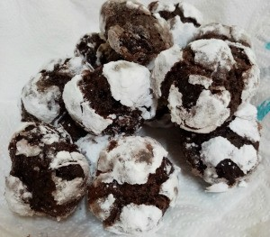 Chewy Choco Crinkles on plate