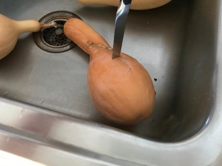 slitting Butternut Squash with knife