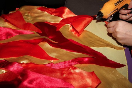 Outer Space Princess Riding Shooting Star Illusion Costumes - flame fabric pieces being glued on