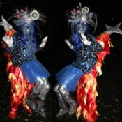 Outer Space Princess Riding Shooting Star Illusion Costumes - facing each other