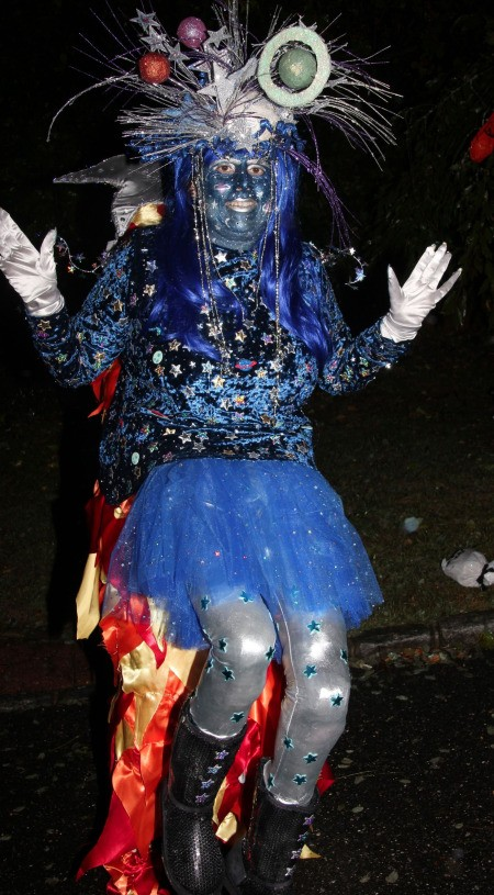 Outer Space Princess Riding Shooting Star Illusion Costumes - full body shot of one person in costume