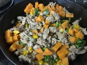 A pan of ground turkey and sweet potato skillet.