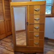 Replacing the Mirror on a Vintage Wardrobe - waterfall wardrobe