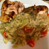 Roasted Chicken and Rice on plate