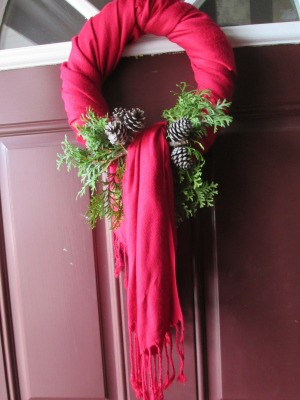 Making Winter Scarf Covered Wreaths