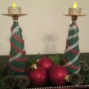 Christmas Tree Candle Holder - two glass trees decorated with strips of gems and topped with tea lights
