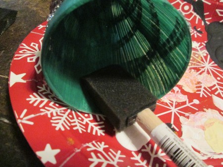 Christmas Tree Candle Holder -  painting the inside of the glass green