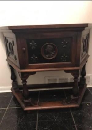 Identifying a Desk/Cabinet - dark wood trapezoidal cabinet