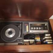 Value of a RCA Console Stereo - open console, turntable, radio, and 8 track player