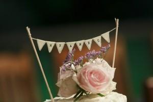 A homemade wedding cake topper.