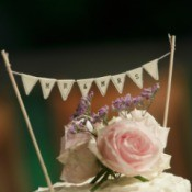 A homemade wedding cake topper.