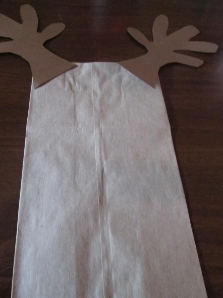 Reindeer Puppets - glue antlers to bag