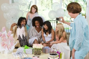 Woman celebrating at a bridal shower.