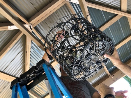 DIY LED Chandelier - attaching to ceiling framework