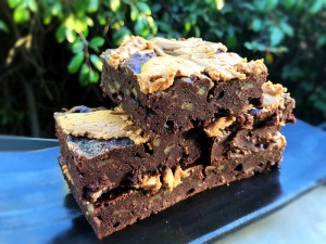 Fudgy Peanut Butter Banana Brownies on plate
