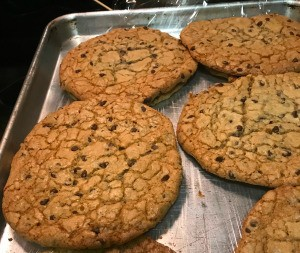 Gigantic Chocolate Chip Cookies on tray