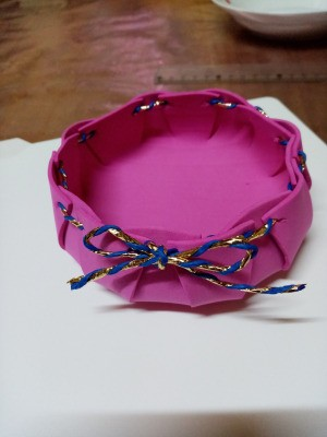 Foam Goody Bowl - tie twine in a bowl to finish the bowl