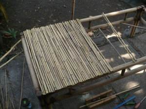 Repairing A Bamboo Coffee Table - table top half covered