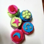 Rubber Foam Stamps on Bottle Caps - 5 foam stamps