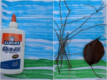 Bringing Fall Indoors Artwork - bottle of Elmer's glue and partially complete artwork