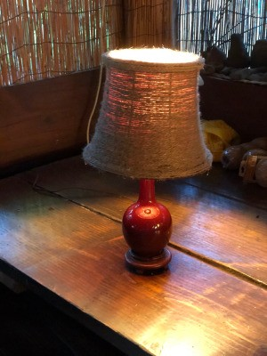 Refurbishing A Lampshade with Jute Cord - lamp turned on