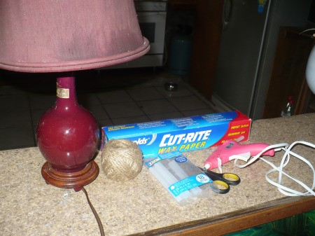 Refurbishing A Lampshade with Jute Cord - supplies