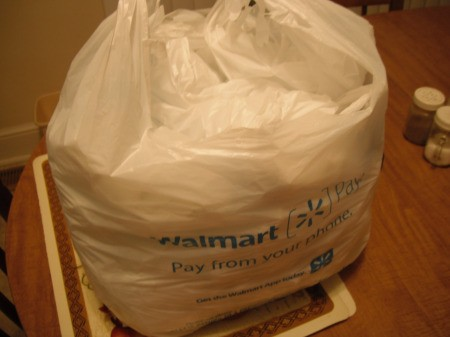 Folding Plastic Grocery Bags - bag of bags