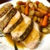 plate with Honey Mustard Pork Loin with veggies