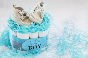 A baby shower centerpiece for a baby boy.