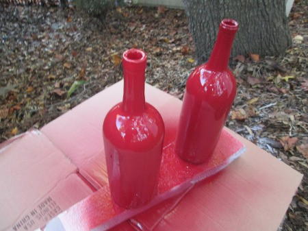 Santa Vase And Lamp - bottles painted red