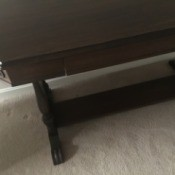 Value and Age of a Mersman Trestle Writing Desk - left corner of the table top and trestle legs