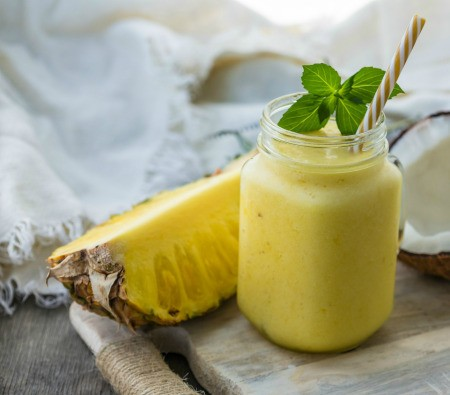 A fresh pineapple smoothie.