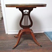 Wood Used to Make a Mersman Lyre Table - lyre table with decorative metal(?) trim