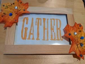 """Thanksgiving """"Gather"""" Leaf Frame - second leaf glued in place"""