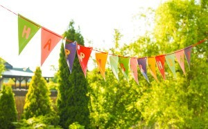A birthday banner hung outside.