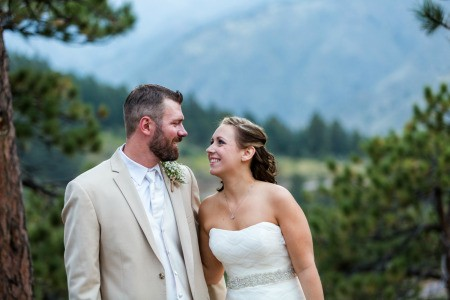 An outdoor wedding in the mountains.
