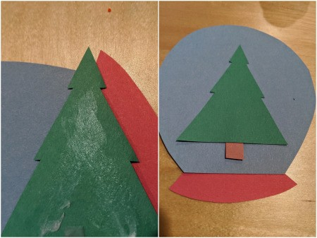 Paper Snow Globe Ornament - glue the pieces together
