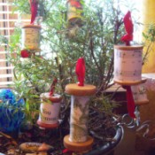 Vintage Looking Thread Spool Tree or Gift Ornaments - ornaments on display