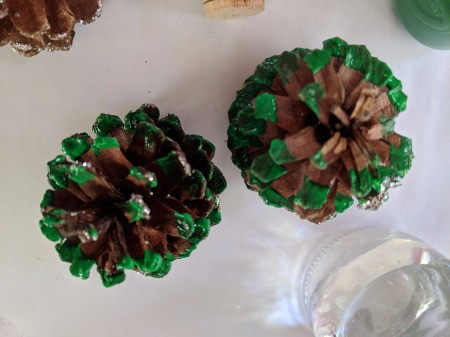 Christmas Tree Place Card Holders - two cones painted