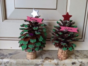 Christmas Tree Place Card Holders - two Christmas tree placecard holders