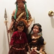 Value of Porcelain Native American Dolls - Native American dolls including an infant