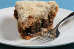 A piece of shoo fly pie on a plate.