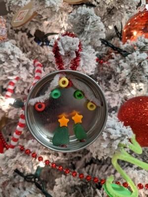 Mason Jar Lid Christmas Ornament - ready to hang on the tree or gift