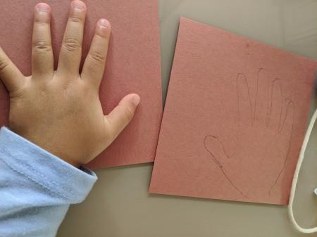 Reindeer Handprint Antler Hat - child's hand on paper for tracing