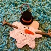 Melted Snowman Ornament - finished ornament with ribbon hanger added