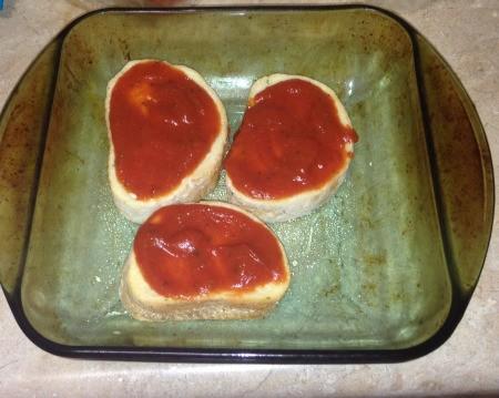 Pizza sauce on bread