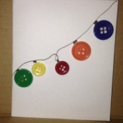 Button Christmas Cards - light strand card completed