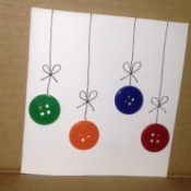 Button Christmas Cards - draw a straight line down to the button and add a bow